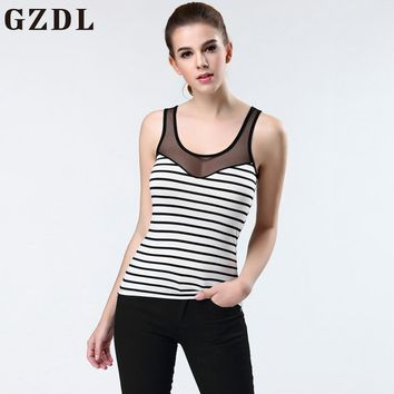 GZDL 2017 Summer Style New Ladies Sleeveless Modal Mesh T-shirt Tank Top Women Vest Tops Striped Sheer Stylish Slim Sexy NY331