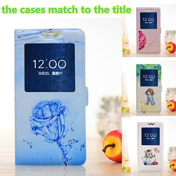 Slim View Window Flip Pattern Cover For HTC Desire 310/D310 526/326/526G 600/606W 626/628 620/820mini ONE M7/802W Phone cases