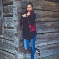 Plaid Vest in Red and Navy