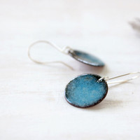 Blue dangle earrings - small enamel earrings - sky blue and black - sterling silver earwire - artisan jewelry by Alery