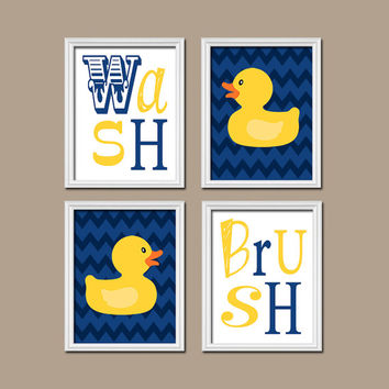 Duck Bathroom Wall Art Navy Yellow Rubber Duckie Bathroom Rules