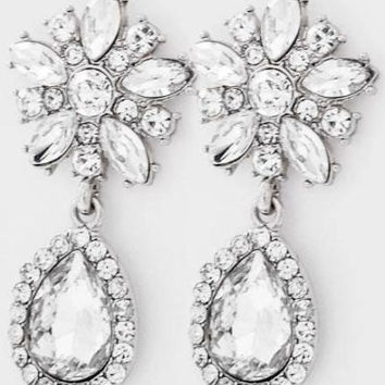 Crystal Teardrop Floral Dangles Gauges Plugs Drops Earrings 256521f38