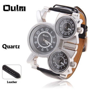 Oulm Luxury Sport Military Quartz Dial Men Stainless Steel Wrist Watch