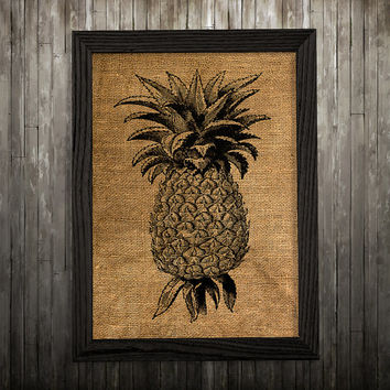 Pineapple decor Burlap poster Fruit print Kitchen print BLP796