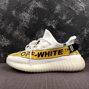OFF White x Adidas Yeezy 350 V2 Boost White Yellow Sport Running Shoes - Best Online Sale