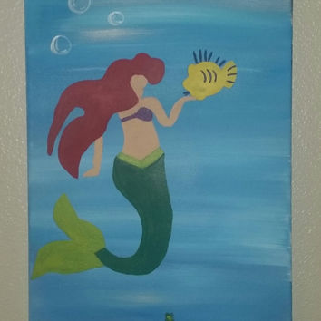 """Hand painted wood framed canvas 12""""x24"""" - Little Mermaid"""