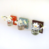 TRES modern wall mount flower vases by PIGandFiSH on Etsy