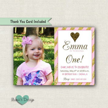 Pink and Gold Stripes Birthday Invitation - Pink and Gold Stripes Invite - Gold First Bday Invite - Pink and Gold First Birthday Invitation