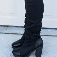 As If Black Spandex Chunky Platform Heel Boots