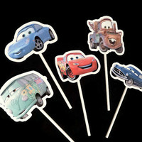 Disney Cars cupcake toppers, 10 kids birthday party decorations, party supplies