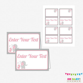 Pink and Gray Elephant Baby Shower, Editable Food Labels, Tent Cards, Place Cards, Instant Download Printable, Customized Labels EL0005-LP