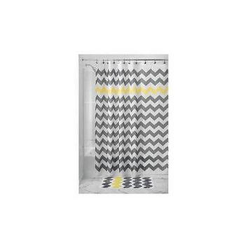 "Interdesign Chevron Shower Curtain, 54"" X 78"" Gray/Yellow"