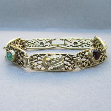 Signed GOLDETTE 1960's Vintage Victorian Revival Filigree Links Bracelet with Cameo, Heart, Flower, & Faux Gemstone Charms