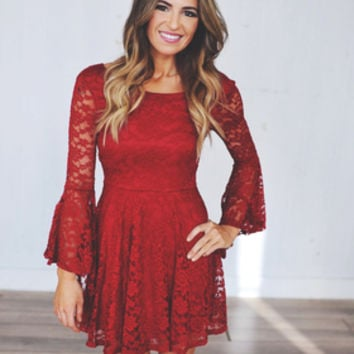 Red Lace Bell Sleeve Dress