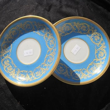 Mid-Century WG and co or Guerin Limoges Turquoise Porcelain Saucers with Gold Trim