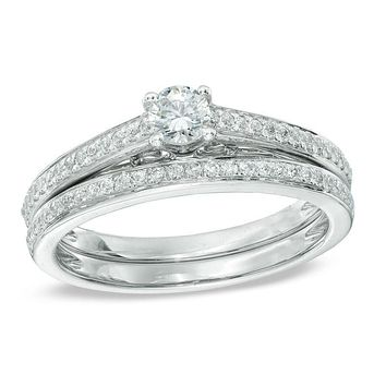 1/2 CT. T.W. Diamond Bridal Engagement Ring Set in 14K White Gold