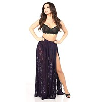 Daisy Corsets Sheer Plum Lace Skirt