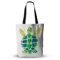 """Catherine Holcombe """"Turtle Love"""" Green Teal Everything Tote Bag"""