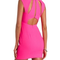 TEXTURED NEON CUT-OUT SHEATH DRESS