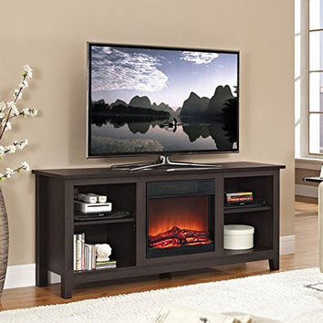 "58"" Espresso Wood TV Stand with Fireplace Insert"