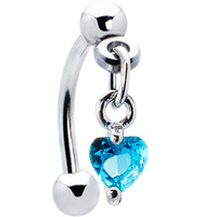 Top Down Aqua Blue Gem Dangle Heart Eyebrow Ring | Body Candy Body Jewelry