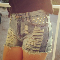 Distressed Studded High Waist Shorts Hipster