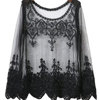 Embroidered Detail Sheer Mesh Top in Black or White