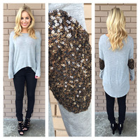 All that Glitters Long Sleeve Top - Grey