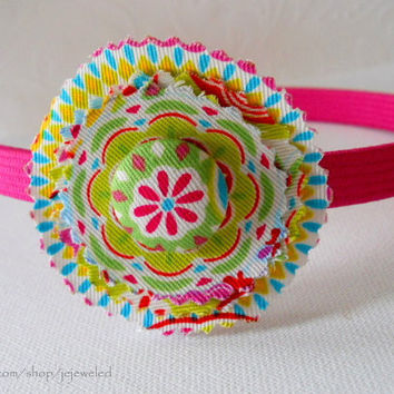 Roundy Roundie Fabric Covered Button Headband by JeJeweled on Etsy