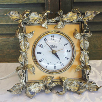 Ornate Globe Alarm Clock - Gold Leaves - Vintage Clock