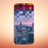 Metropolitan Skyline x Geometric Pixels Phone Case for iPhone 6 6 Plus iPhone 5 5s 5c 4 4s Samsung Galaxy s6 s5 s4 & s3 and Note 5 4 3 2