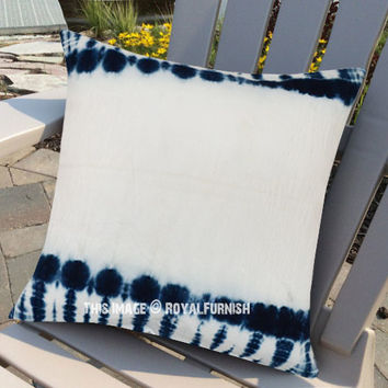 Decorative White Shibori Designer Indigo Pillow Case 16X16 Inch on RoyalFurnish.com