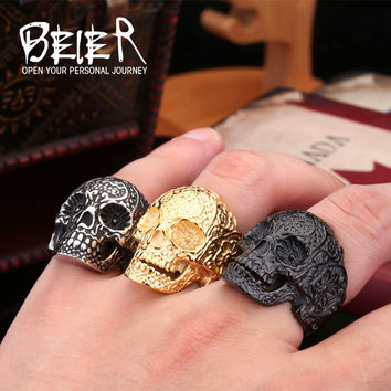 Classic Garden Flower Skull Ring for Man Stainless Steel Man's Punk Style Jewelry Free Shipping US Size