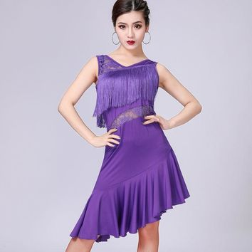 Sexy Women Fringe Dress with Shorts Double V Neck Sleeveless See-Through Lace High Low Hem Party Dress Dance Performance Outfit