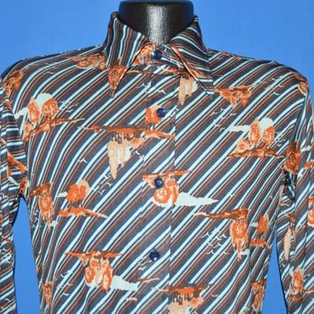 70s Val Cassi Striped Flowered Disco shirt Small