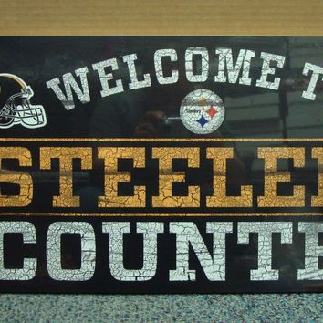 """PITTSBURGH STEELERS WELCOME TO STEELERS COUNTRY WOOD SIGN 13""""X24'' NEW WINCRAFT"""