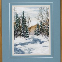 Snowy Landscape Embroidery - Blue Water Stream on Winters Day Framed Work