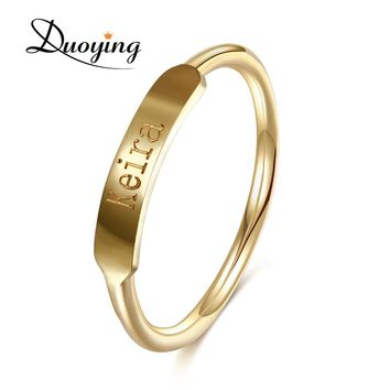 fa2e767ff5 DUOYING Couples Custom Ring Name Engraved Graduation Present Gifts Styles  of Simplicity Minimalist Promise Copper Ring