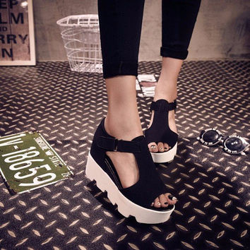 Leather T Strap Platform Fish Mouth Sandals