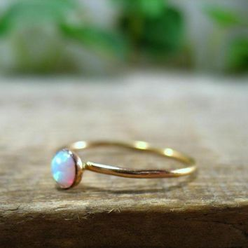 ac spbest Stacking Ring Gold White Fire Opal