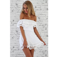 Women Solid Color Lace strapless Hollow boat neck Mini Dress