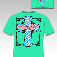Sassy Frass Southern Collection Preppy Mint Cross Bow Christian Girlie Bright T Shirt