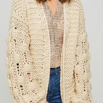 Kixters - Cream Long Knit Cardigan