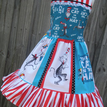Custom Boutique Cat in Hat Fabric Dr Seuss Dress 3 4 5 6 7 8 Birthday