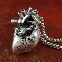 "Gothic Heart Necklace Antique Silver Anatomical Heart Pendant on 24"" Antique Silver Chain"