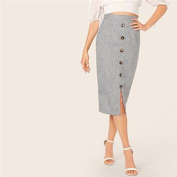 Grey Button Front Slit Bodycon Pencil Long Skirt Skirts Womens High Waist Solid Office Lady Elegant Skirt