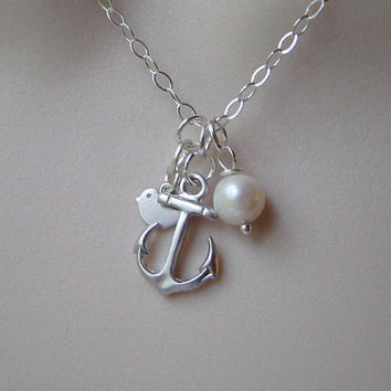 Silver Anchor necklace, Pearl necklace, Silver sparrow, STERLING SILVER, Mother Big Sister gifts. Best Friend Birthday, Christmas Gift.