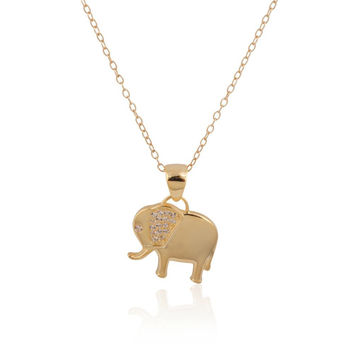 """925 Sterling Silver 14k Gold Plated Elephant Pendant Necklace w- Clear CZs, 18"""""""