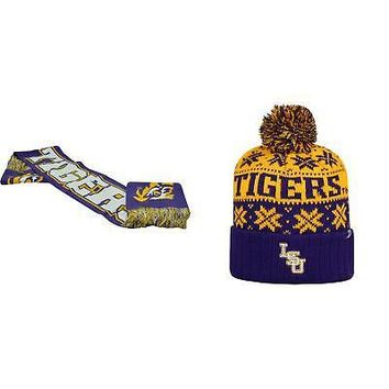 Licensed NCAA LSU Tigers Spirit Scarf And Subartic Beanie Hat 2 Pack 94297 KO_19_1