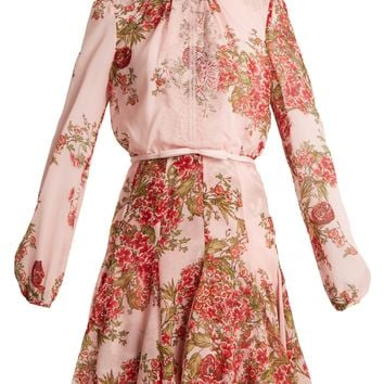 Rose-print lace-trimmed silk-georgette dress | Giambattista Valli | MATCHESFASHION.COM US